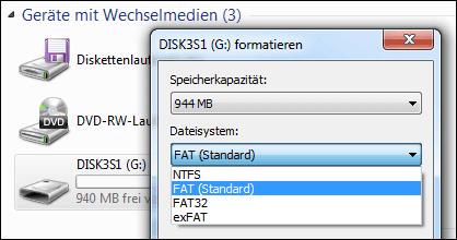 Im FAT oder FAT32 Format formatieren