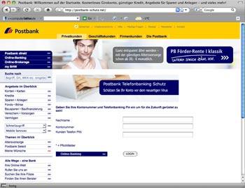 Postbank Phishing: Postbank-Schutz.net
