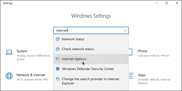 Windows Internet Options