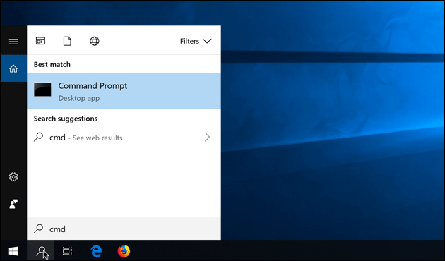 Windows 10: Open command prompt