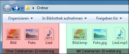 Dateiendung anschalten