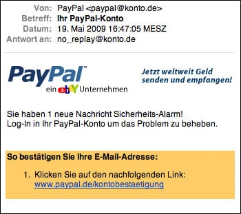 warnung paypal phishing email. Black Bedroom Furniture Sets. Home Design Ideas