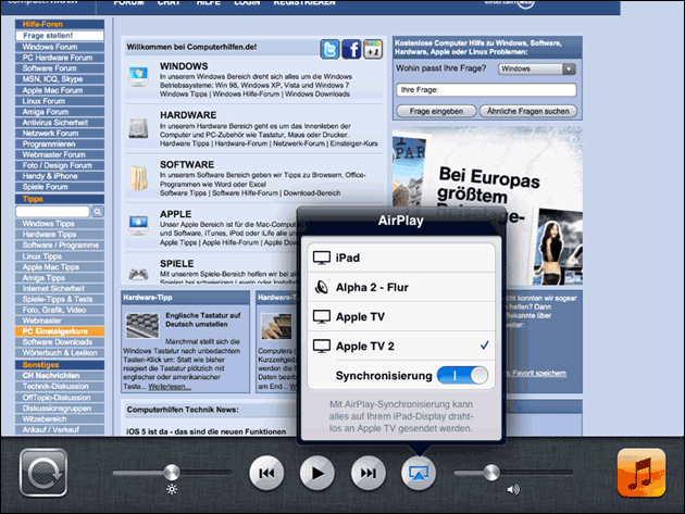 AirPlay Mirroring: iOS 5 und 6