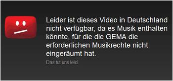YouTube: GEMA Sperre