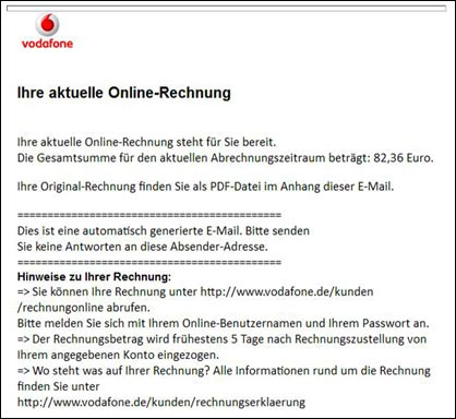 vorsicht gef lschte vodafone pdf rechnung mit virus. Black Bedroom Furniture Sets. Home Design Ideas