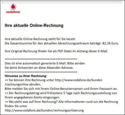 Vorsicht Gefälschte Vodafone Pdf Rechnung Mit Virus