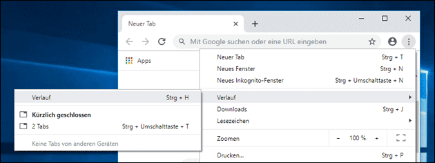 Chrome Browser Verlauf