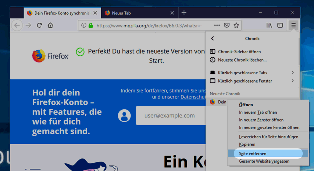 Firefox Verlauf: Seite löschen