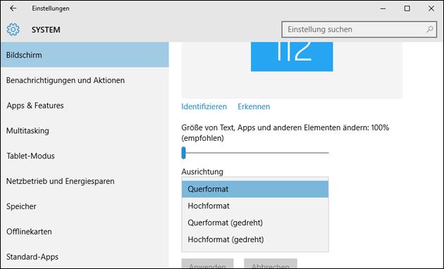 Bildschirm drehen mit Windows 10