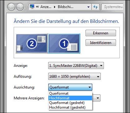 Bildschirm drehen mit Windows 7