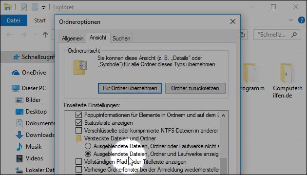 Windows versteckte Ordner anzeigen