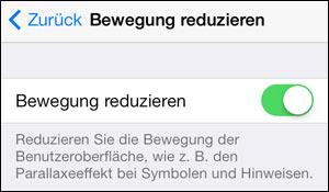 iOS Hintergrund Bewegung reduzieren