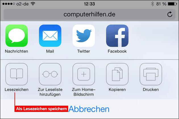 iOS Lesezeichen speichern