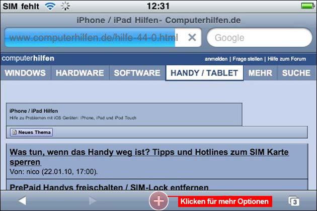 Lesezeichen iPhone und iPad