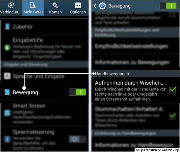 Samsung S3 und S4 Screenshot