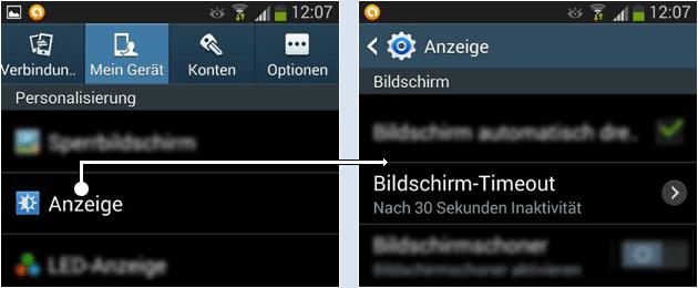 Android Bildschirm Timeout