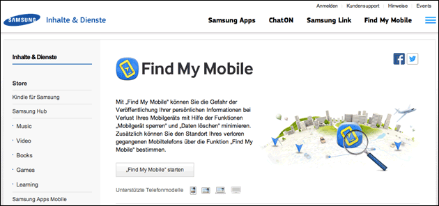 Samsung: find my mobile