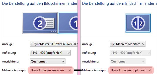 Bildschirm spiegeln / duplizieren