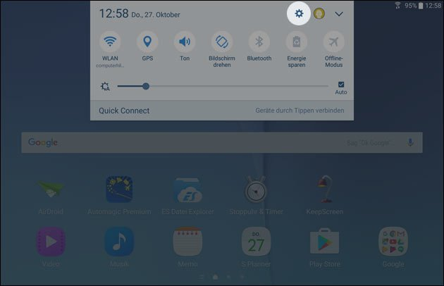Einstellungen öffnen mit Android 6