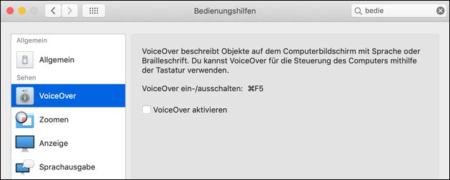 Voice Over ausschalten