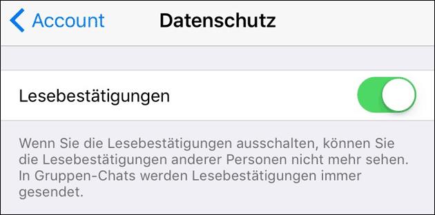 WhatsApp Lesebestätigung abschalten
