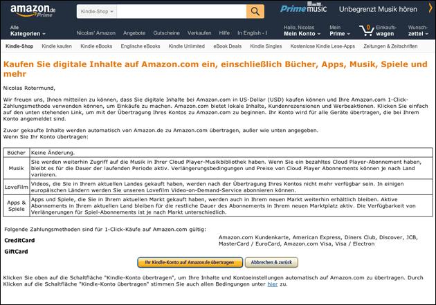 Kindle und Amazon Prime Video Konto auf Deutschland stellen