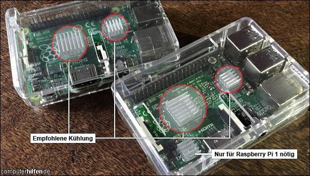 Raspberry Pi Kühlung: Hier kommen die Kühler hin!
