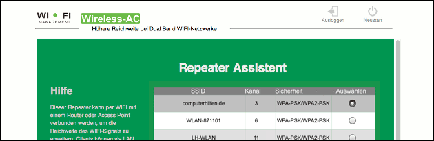 WLAN Repeater Funknetz Auswahl