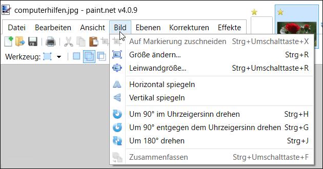 Paint.NET: Bild bearbeiten