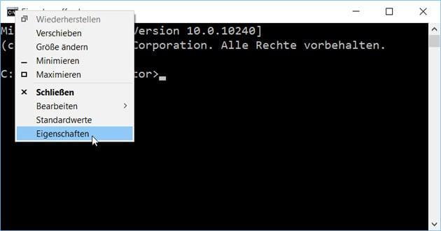 Windows 10 CMD Konsole
