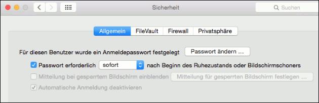 Bildschirm sperren mit Passwort