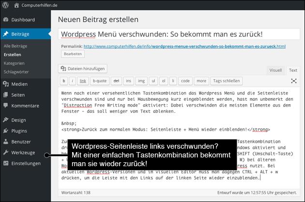 Wordpress Menu und Seitenleiste verschwunden