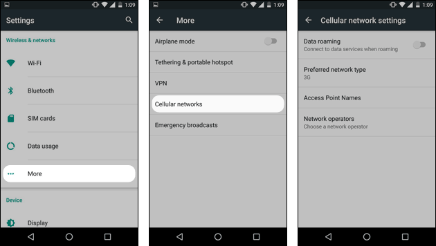 Android Einstellungen: Daten-Roaming