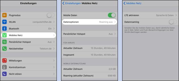 iPhone: Datenroaming ausschalten