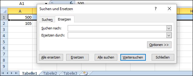 Suchen und ersetzen mit Excel