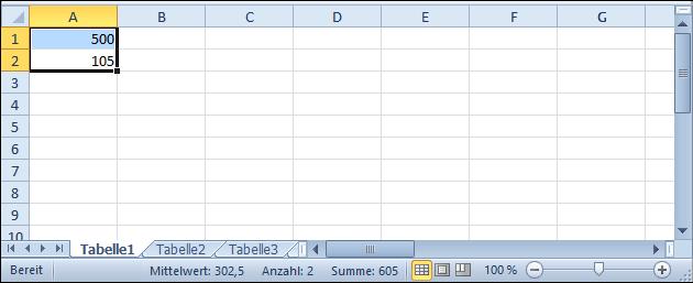 Excel: Summe und Mittelwert zeigen