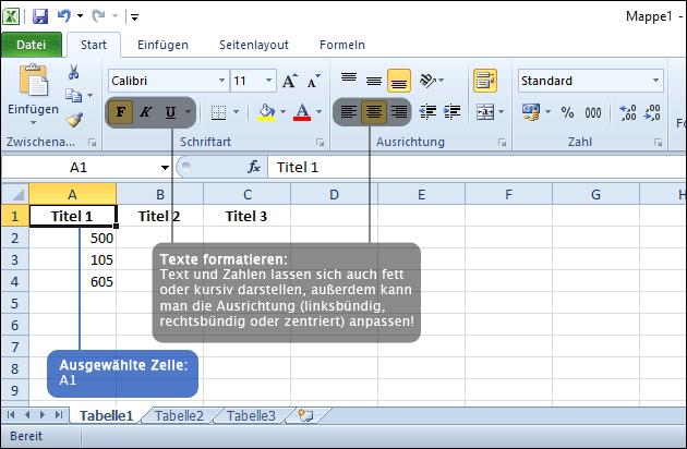 Excel: Text formatieren in einer Zelle
