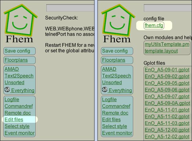 FHEM config bearbeiten: fhem.cfg