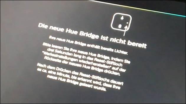 Fehler: Neue hue Bridge nicht bereit