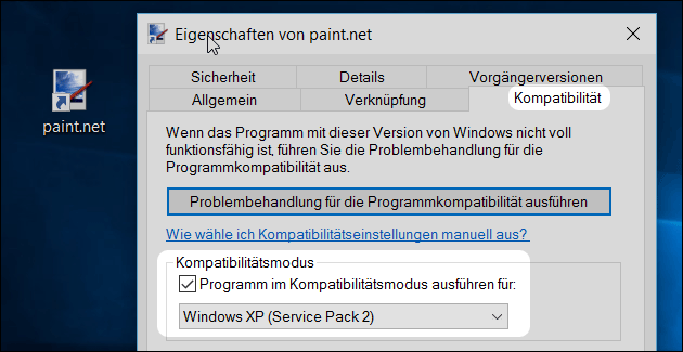 Windows 10 Kompatibilitätsmodus