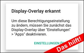 Lösung: Display-Overlay erkannt