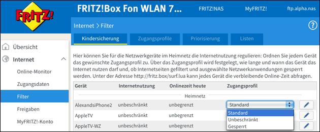 Fritzbox: Kindersicherung - Internet-Zugang sperren