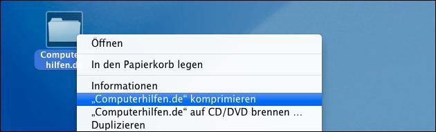 Mac: ZIP Datei erstellen