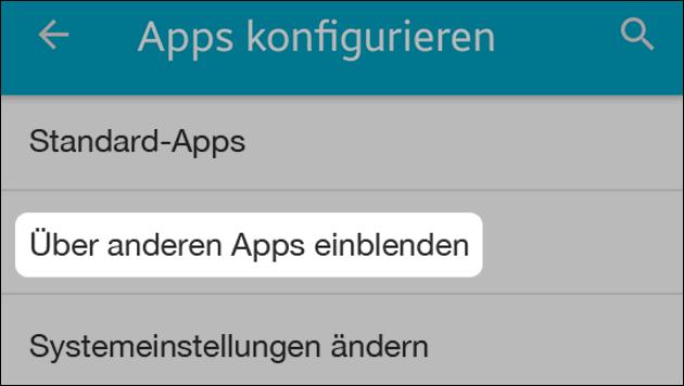 Über anderen Apps einblenden