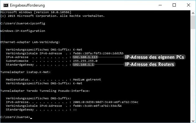 Router IP herausfinden