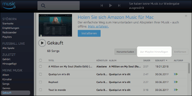 Amazon Musik Playlist erstellen