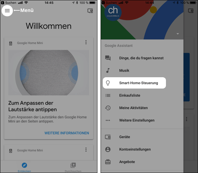 Google Home Smart Home Steuerung