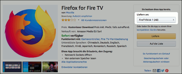 Fire TV YouTube mit Firefox