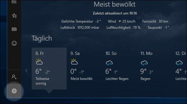 Windows Wetter App Ort ändern