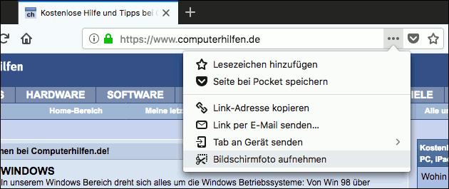 Firefox Webseiten Screenshot machen